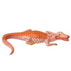Herend Porcelain Fishnet Figurine of a Small Alligator